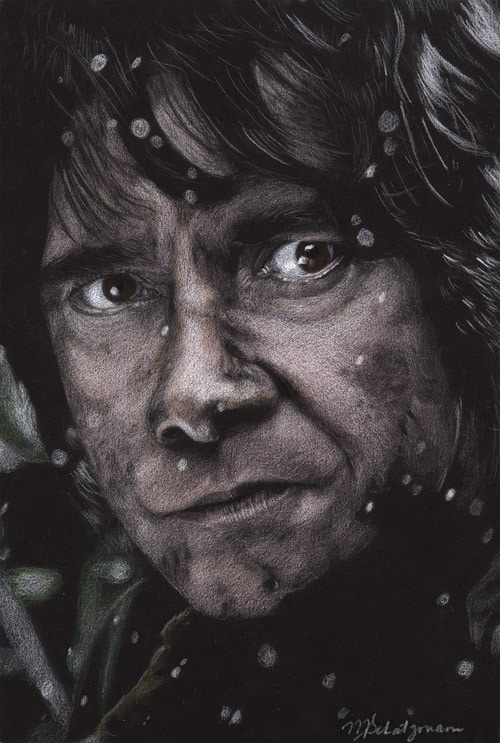Bilbo Baggins The Hobbit Colored Pencil on Black Paper